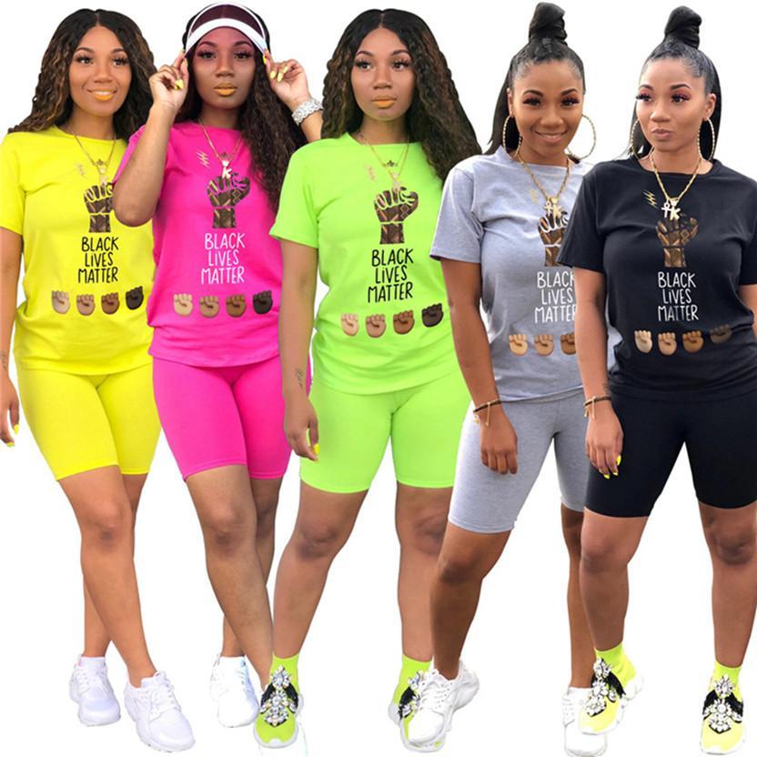 Negra vive tamanho matéria mais 2XL mulheres Verão esportes duas peças set Conjuntos T-shirt de manga curta + short sportswear ocasional de jogging terno 3325