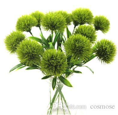 Искусственные цветы Одуванчик Декоративные пластиковые цветы Свадебные украшения для дома День Святого Валентина Цветы Белый Зеленый Длина 25см
