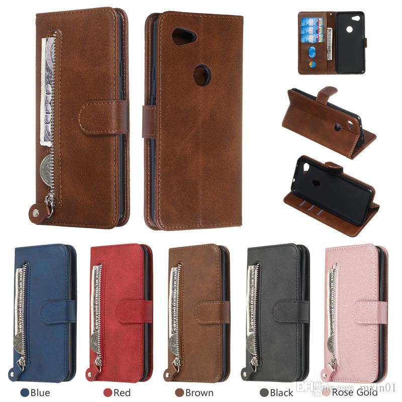 Reißverschluss Brieftasche Flip Leder Kartenfächer Ständer Fall für LG Stylo 4 5 G8 G8S K40 K12 Sony XZ2 XZ3 Nokia 1 Plus 3.2 4.2 2019 Google Pixel 3A XL