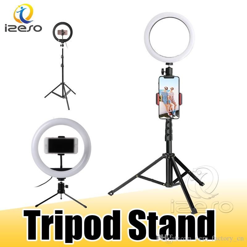 Phone Holder LED Desktop Ring Light Stepless Dimming with Tripod Stand for YouTube Video Live Photography Studio with Retail Package izeso