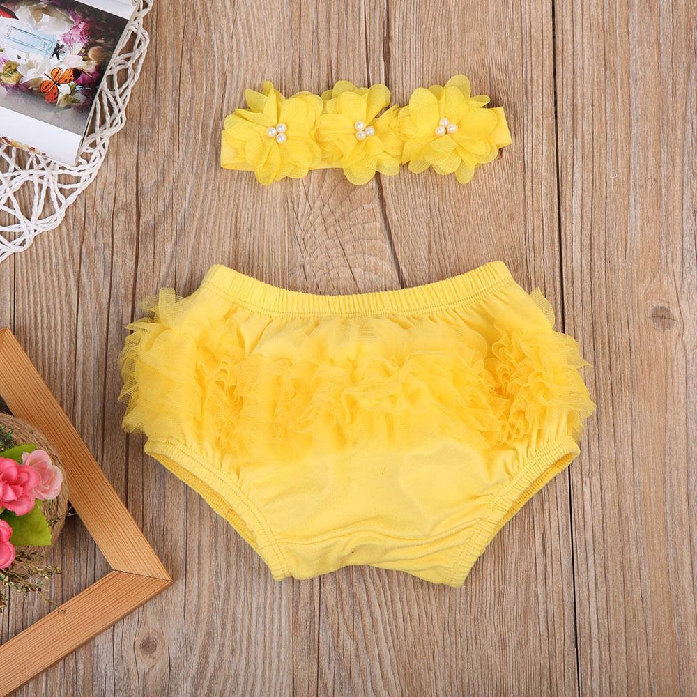 Cute Yellow Pink Purple Lace Floral Bottom Shorts+Headband Outfits Newborn Baby Girl Party Ruffle PP Panties Tutu Shorts Summer