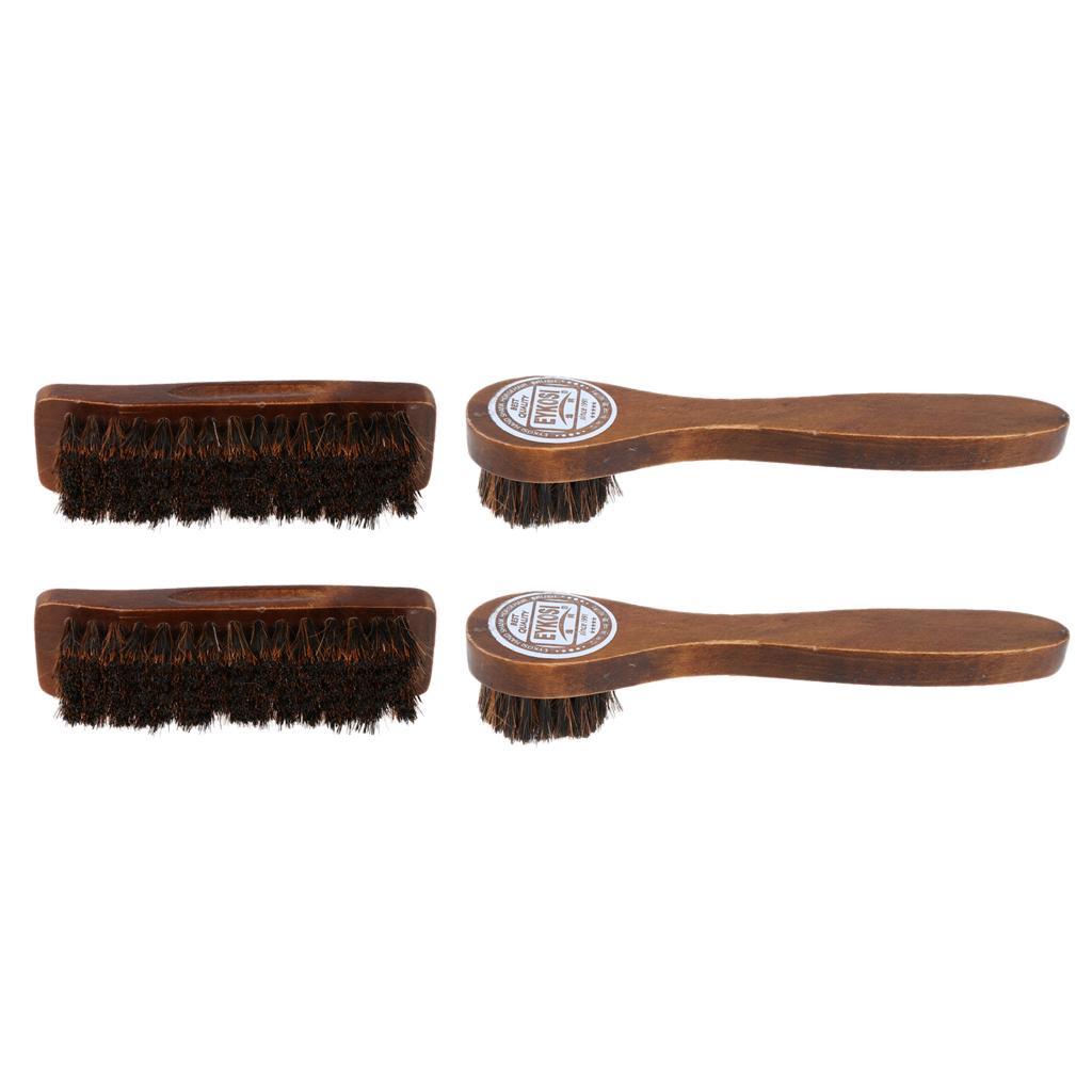 4PCS / Set Pro Pratico capelli del cavallo lustrascarpe polacco di lucidatura Spazzole in legno