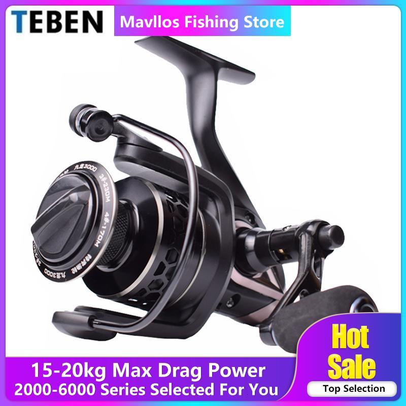 Teben Kowloon Carp Fishing Reel 3000 600 alça metálica Max Arraste 20 kg Freshwater Surf molinete Jigging Fishing Reel Saltwater