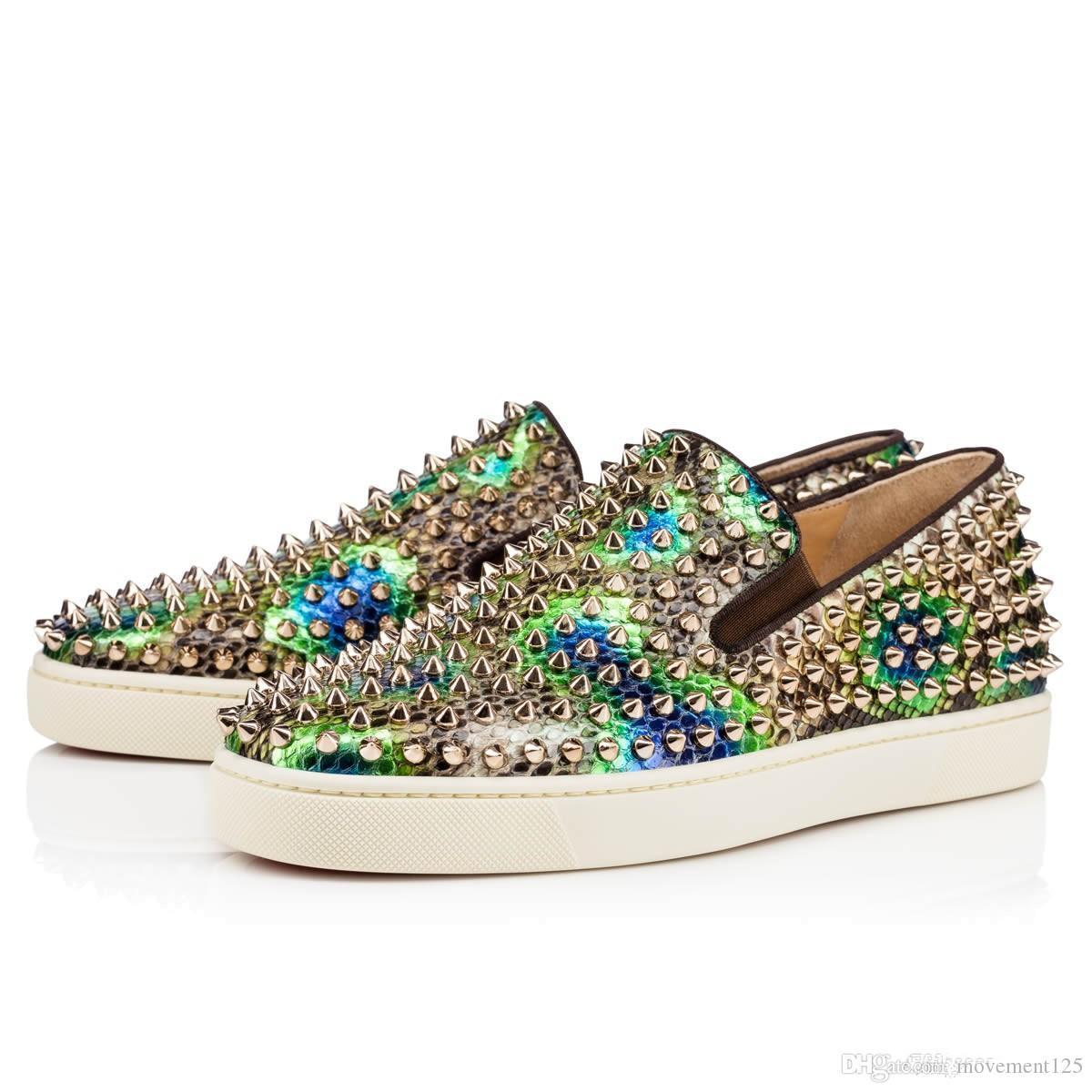 Lüks Kırmızı Alt loafer'lar Ayakkabı Kadınlar, Erkekler Merdane Tekne Gerçek Deri Dikenler On Sneakers Casual Ayakkabı, Düğün Flats Yürüyüş Ayakkabı Kayma