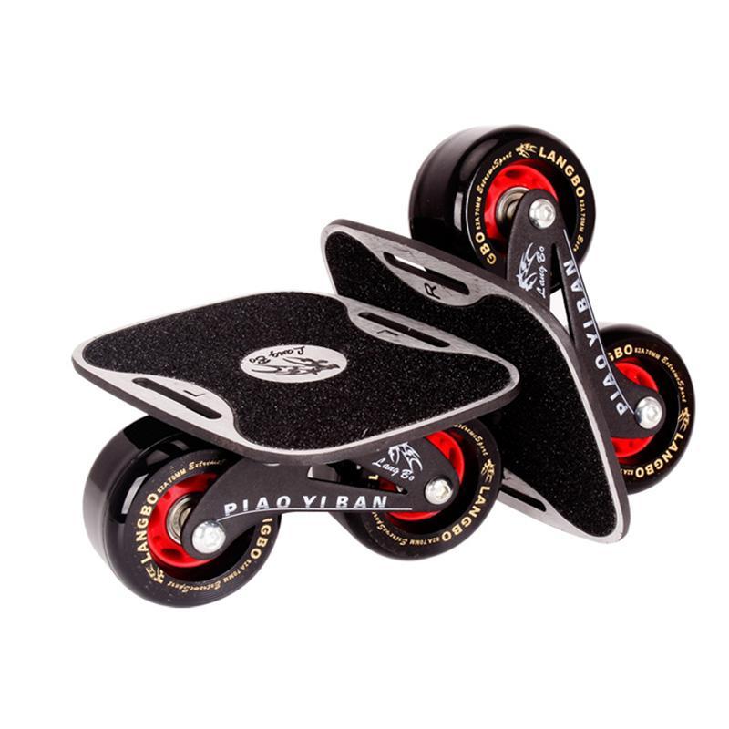 드리프트 보드 두 PU 바퀴 알루미늄 합금 스케이트 보드를 들어 Freeline 롤러 도로 드리프트 스케이트 미끄러 움 방지 데크 스케이트 웨이크 보드 IB97