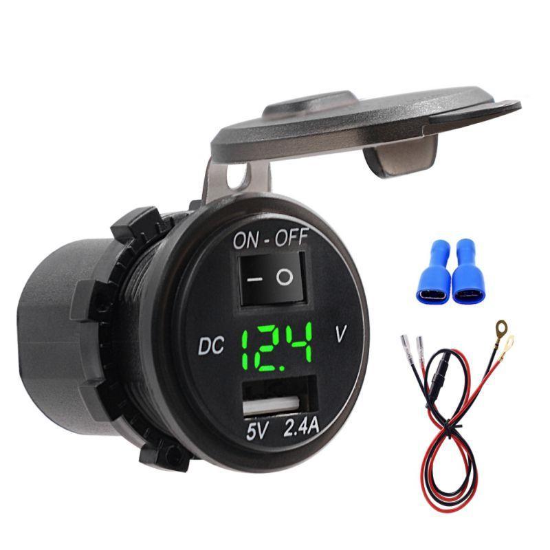 موتو مفتاح USB شاحن للماء 2.4A العرض الرقمية الفولتميتر 12V-24V سيارة قارب شاحن دراجة نارية مع كابل 60CM 20A فيوز