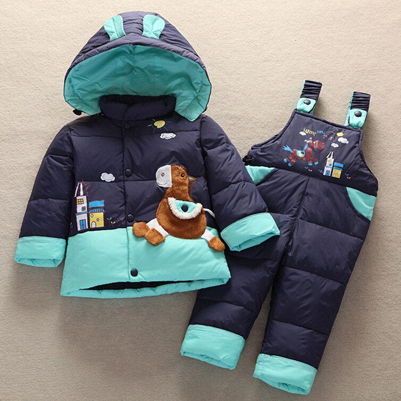 2019 nuovi bambini dei capretti dei ragazzi di inverno del bambino dell'anatra giù del rivestimento del cappotto Set Pantaloni-rivestimento dei vestiti delle neonate rivestimento del cappotto vestiti del vestito MX191030