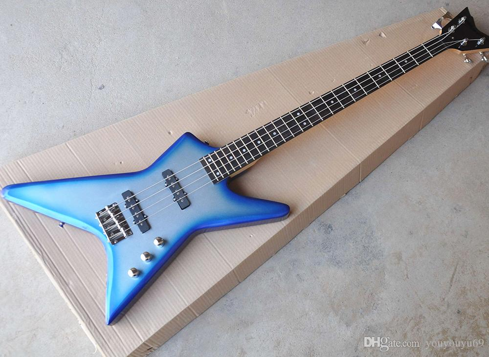 Wholesale custom 4-string blue metal electric bass with 24 fret, rosewood fingerboard, free shipping