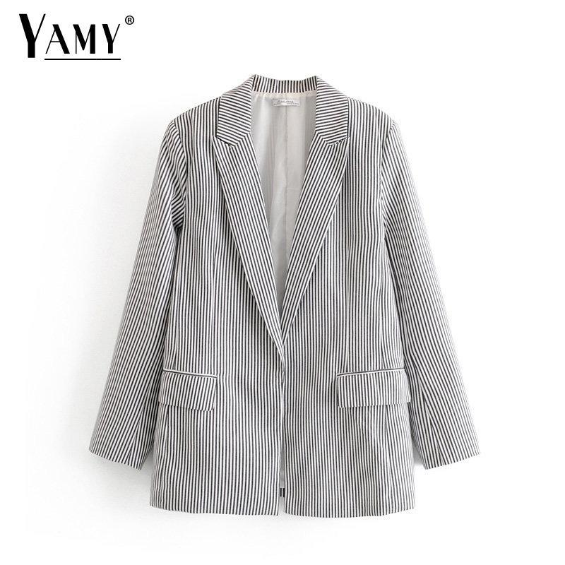 Güz 2019 vintage siyah beyaz hırka şerit blazers kadın blazer ve ceketler mujer gevşek ofis bayan blaser zarif artı boyutu