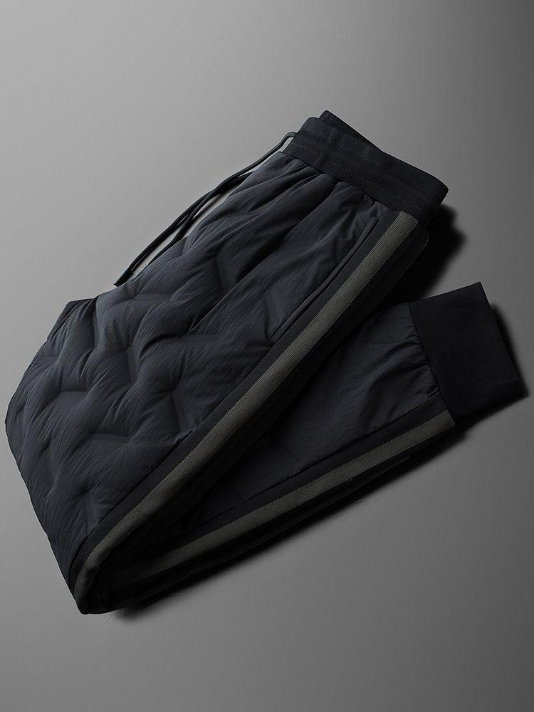 Minglu вниз Мужские брюки Престижное Сплошной цвет эластичный пояс Белый утка вниз Мужские штаны Зимняя мода Slim Fit мужской Брюки 4XL
