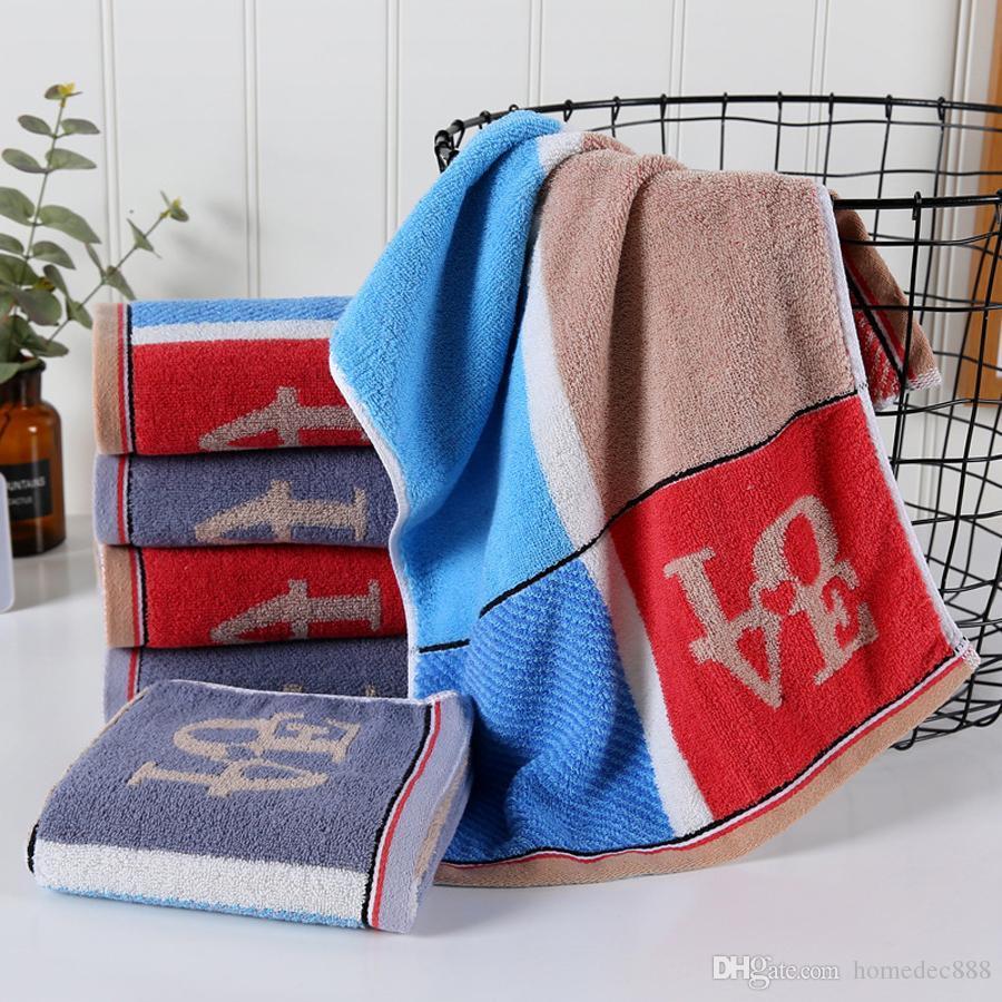 Absorción de agua Toallas de secado rápido Toallas absorbentes del alfabeto Suave y confortable Lavar la cara Alargar delicada toalla impresa DH0628