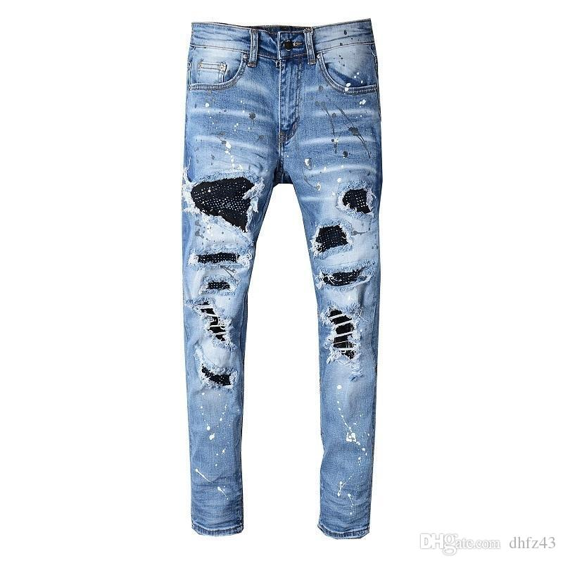 New Italy Style Mens Distressed Destroy Pants Knee Ribbed Patches Blue Denim Skinny Biker Jeans Slim Trousers 563# T200410