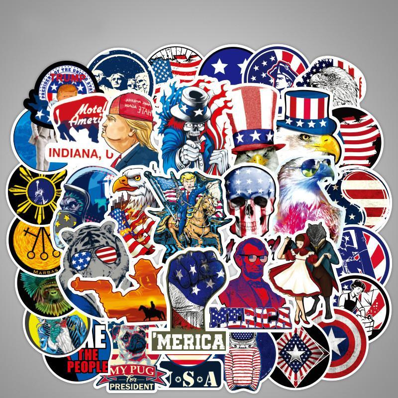 100 미국 대통령 깃발 낙서 스티커 방수 수하물 스티커 조수 브랜드 수하물 스티커