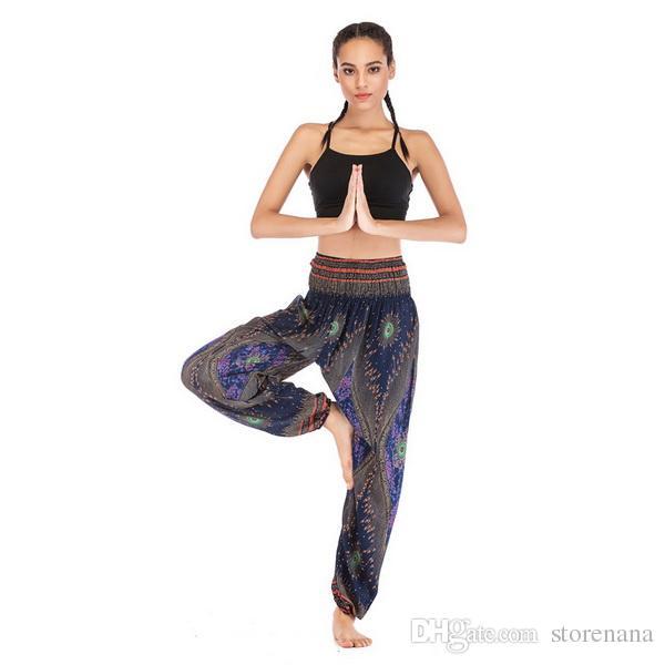 2019 nouveaux Européens et Américains vendent des pantalons de yoga Thai Eye, des vêtements de lanternes de yoga et des pantalons de gymnastique en soie pour femmes