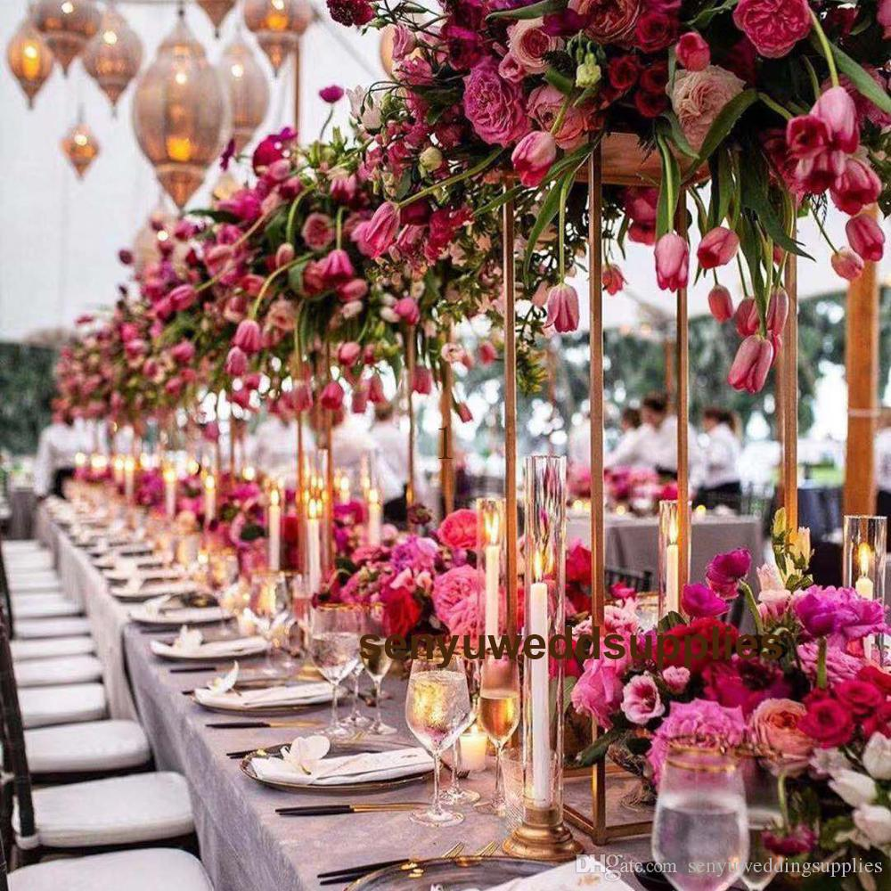 New design Whole sale wedding pillar ,gold walkway stand ,gold column for wedding big flower wall arrange stand for table decoration 199
