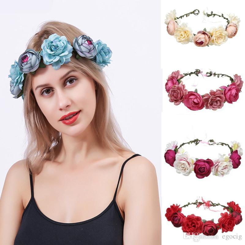 1PC Flower Floral Hairband Baby Kids Crown Headband Party Wedding Beach Headwear