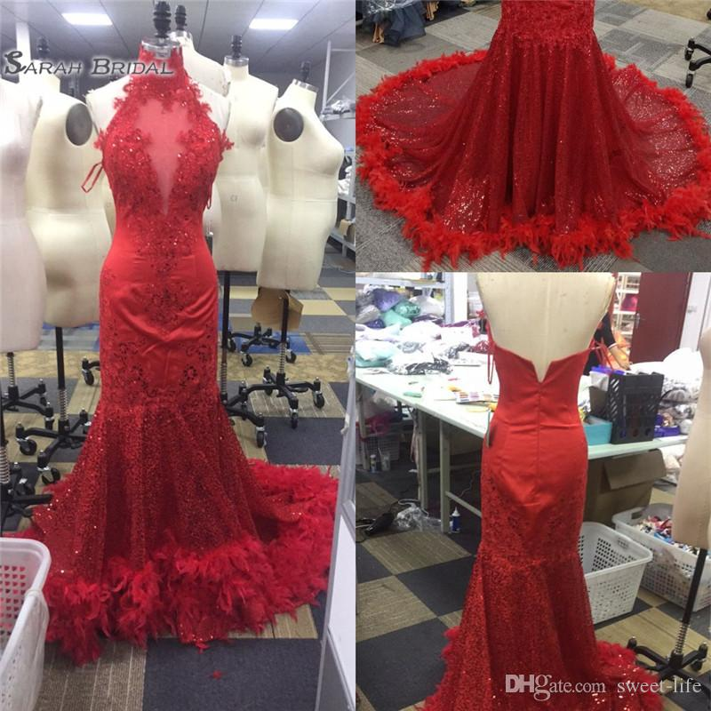 2019 Sexy Red Feather Mermaid Prom Dresses Backless Halter Vintage Lace Plus Size Black Girls African Arabic Formal Evening Party