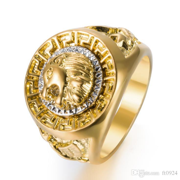 New Hip-hop Fashion Euro-American Fashion Personality Lion Head Accessory Ring Alloy Electroplated Lion Head Ring Jewelry