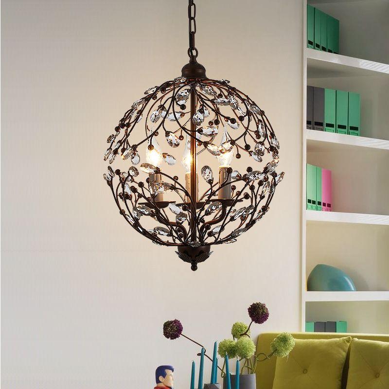 Modern Crystal Pendant Lights Living Room Kitchen Dining Room Hanging Lamp Decor Home Lighting Fixtures Black Metal E14 110-220V