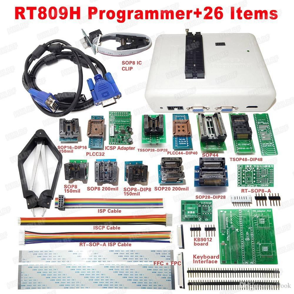 Universal RT809H EMMC-Nand FLASH Programmer+26 Items SOP8 flash Adapter EMMC-NAND NOR better than RT809F Free shipping