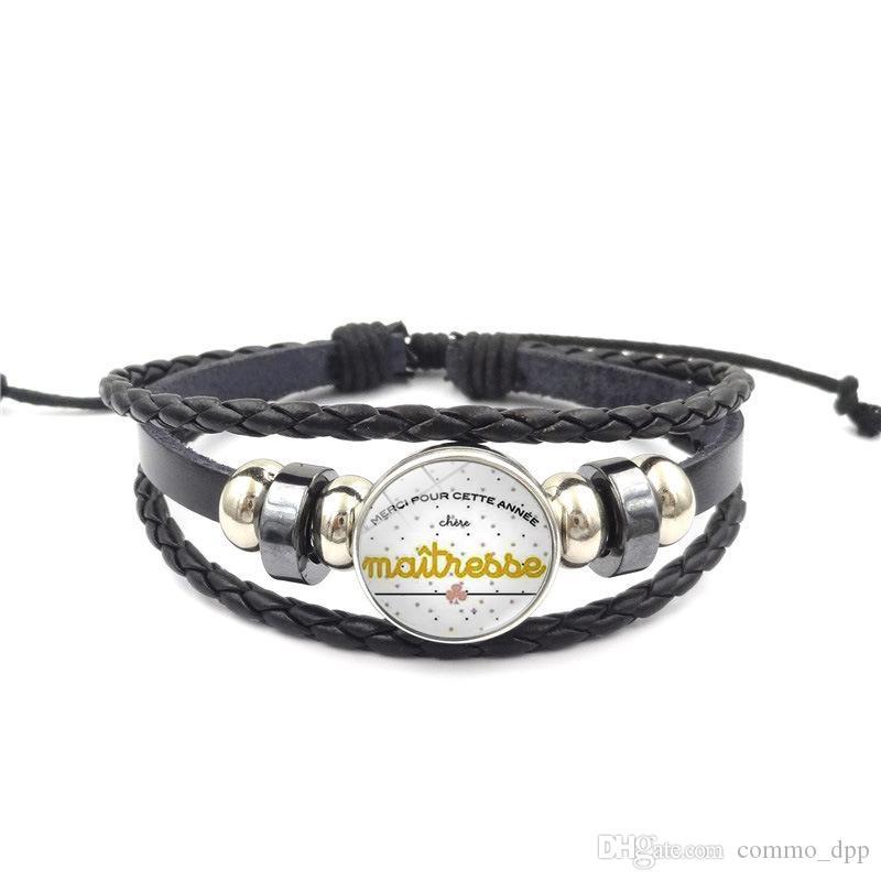 cuir tissage professeur de mode Wrap Bracelet Pour les femmes Merci français Maîtresse Bracelet charm Lettre 2019 Bijoux Journée des enseignants cadeau