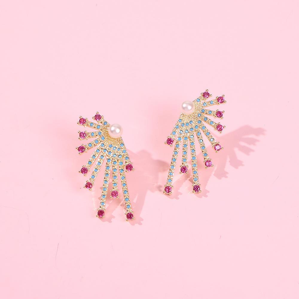 Pendientes de diamante elegante de la aleación completa de Europa y América del estilo de Nueva pendientes de la manera pendientes fresco diamante de color productos explosivos