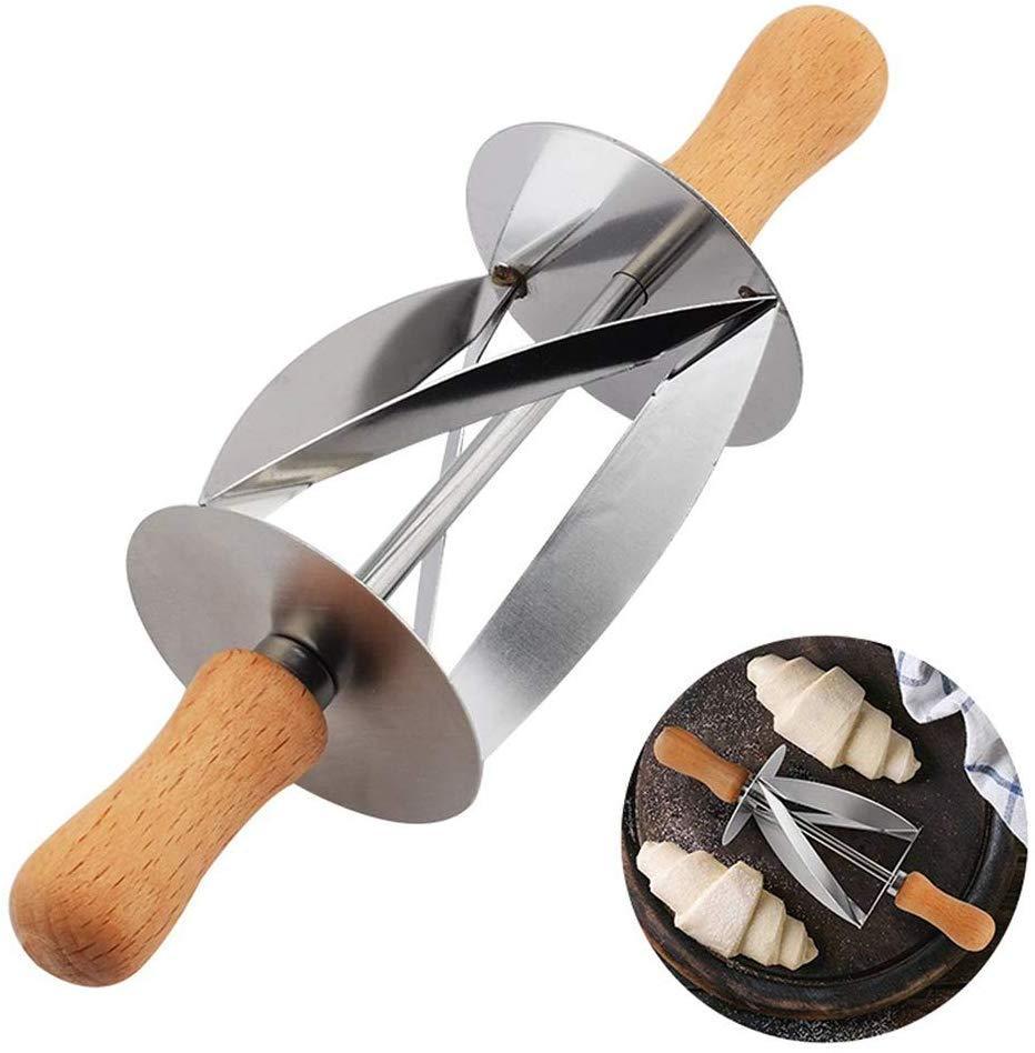 Круассан резак ролик-круассан чайник из нержавеющей стали ролик ломтики с дубовой ручкой идеальной формы тесто для выпечки, прокатный нож кухня
