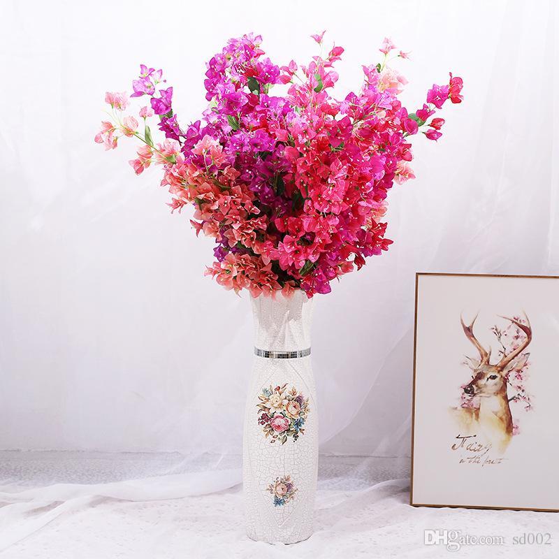 زهرة اصطناعية مثلث البرقوق فرع طويل الرئيسية الزفاف الديكور محاكاة الزهور القماش والبلاستيك الأحمر الأرجواني 8 9ys C1kk