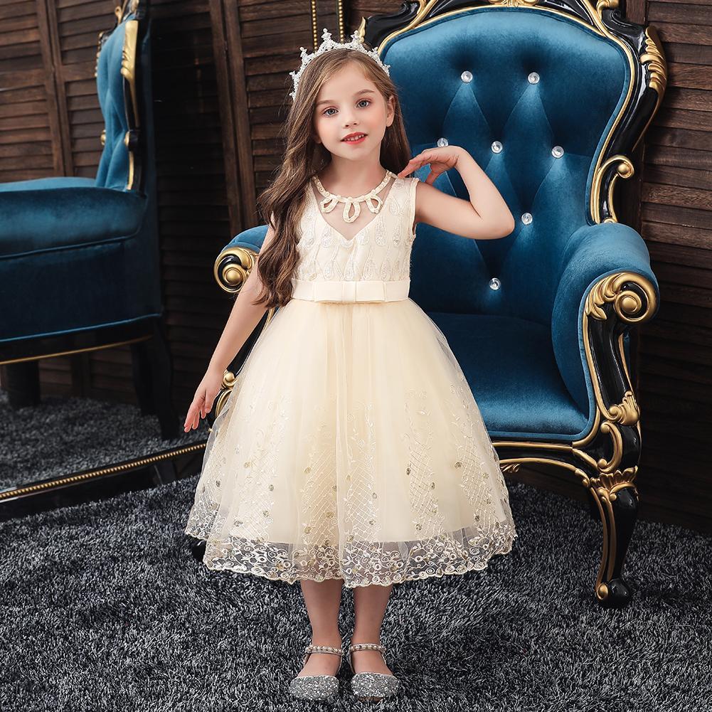 Golden shield New children's dress princess skirt Girls'ball gown dresses Flower Girl Dresses good quality girls wedding dress