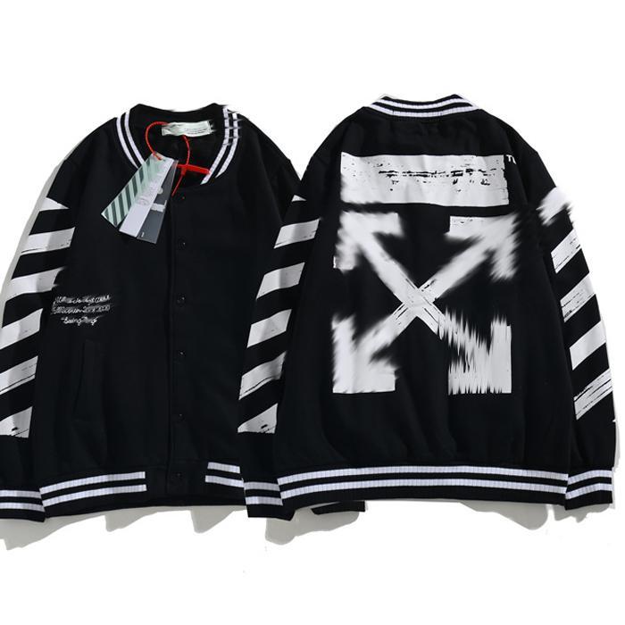 2020 새로운 OFF WHITE 블랙 야구 유니폼 재킷 남성과 여성 커플 스웨터 재킷 패션 캐주얼 상단 화살표