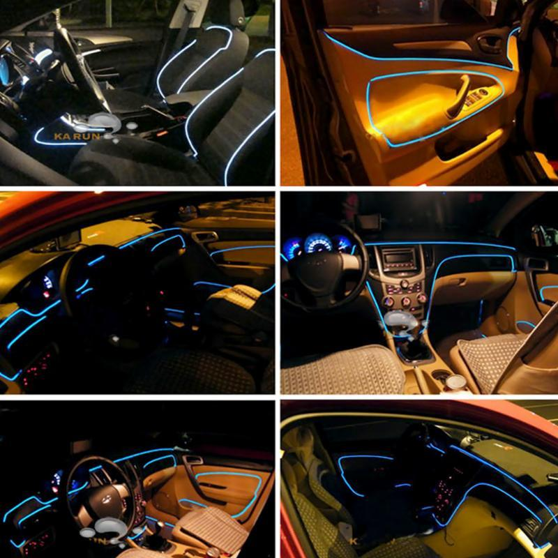 FORAUTO Car 12V LED Cold lights Light Strips Decorative Lamp 3m Flexible Neon EL Wire Auto Lamps Car styling