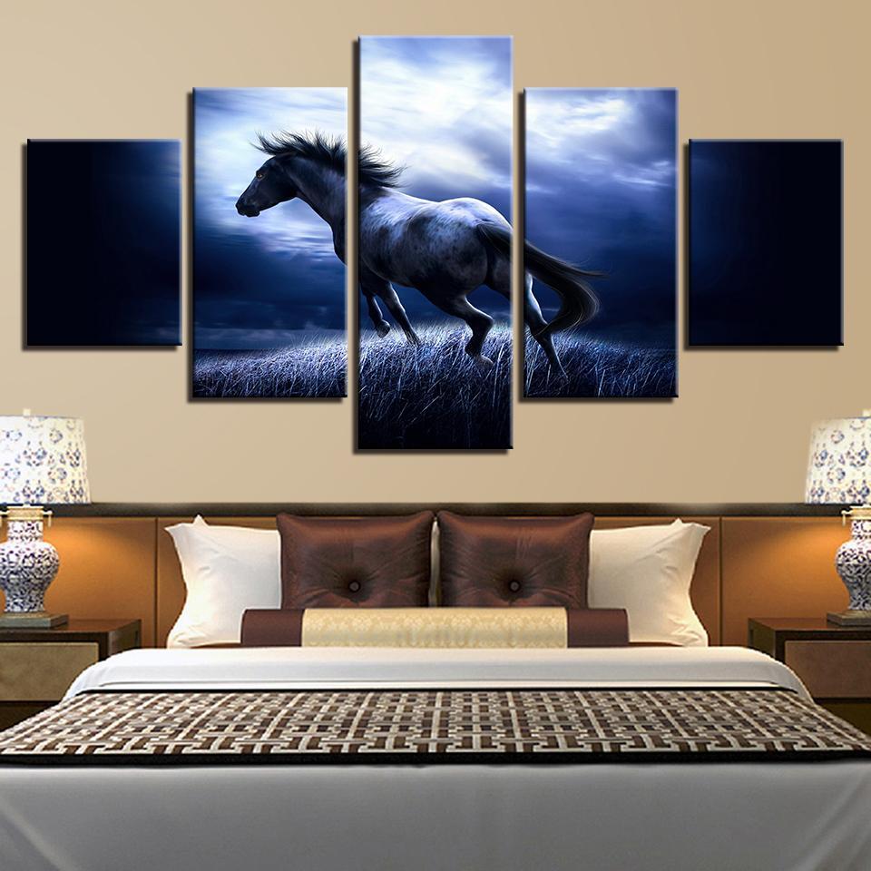 Moderna Pittura di Arte Della Parete HD Stampato Su Tela Poster 5 Pannello Animali Cavallo Soggiorno Immagini Home Decor Cuadros Modulare Senza Cornice