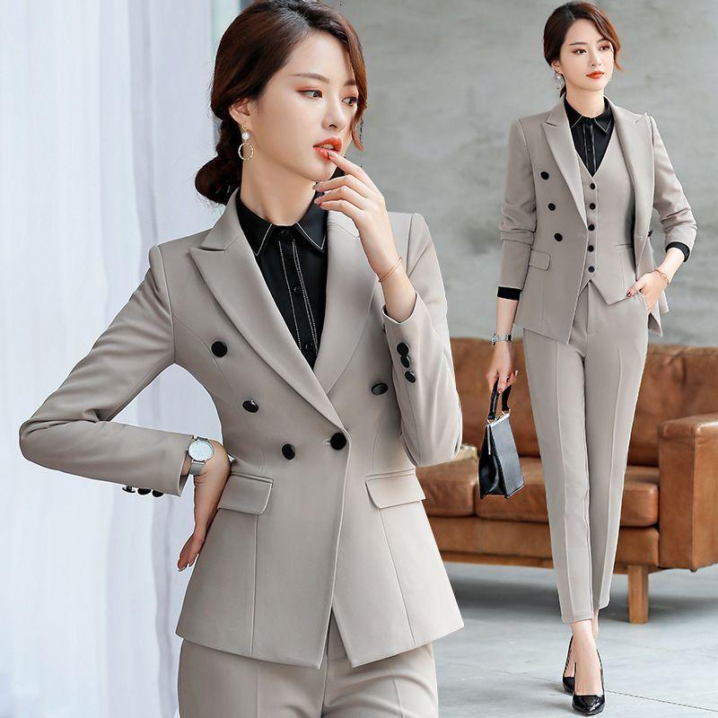Profissional desgaste terno cor sólida blazer casual calças de duas peças feminino 2019 temperamento de mola temperamento de roupas mulheres