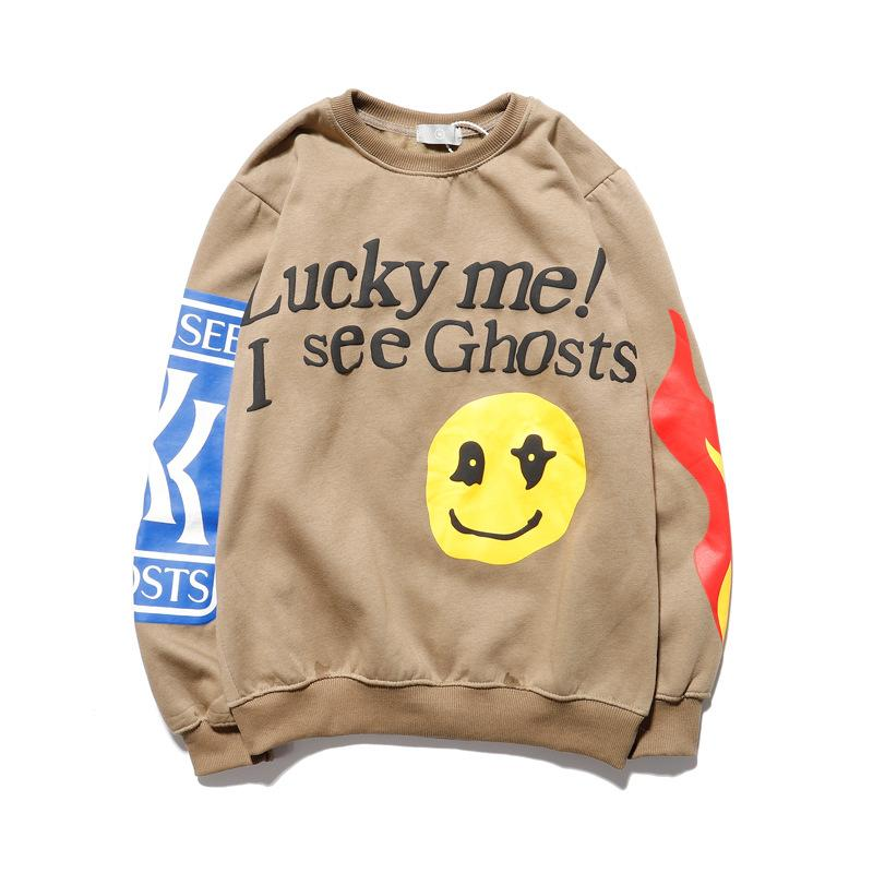 Lucky Me Je vois Ghosts Sweat-shirts hommes 2019 lettres printemps Flamme Imprimé Hip Hop Sweat Terry Sweat Hommes