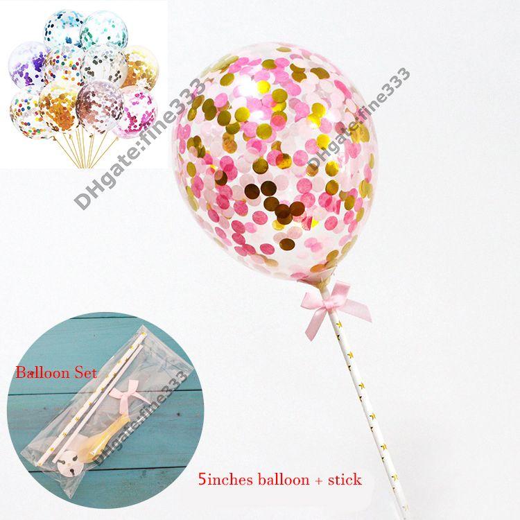 Konfeti Balonlar Set Sopa Renkli Lateks Sequins Dolgulu Temizle Balonlar Çocuk Oyuncakları Doğum Günü Partisi Düğün Süslemeleri Malzemeleri