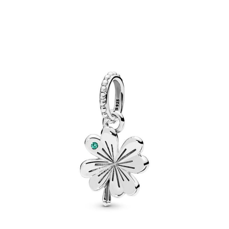 Nuovo 100% reale 925 Sterling Silver Jewelry fortunati a quattro foglie collana fai da te regalo branello del pendente Clover pavimenta cristallo Fit Donne braccialetto europeo