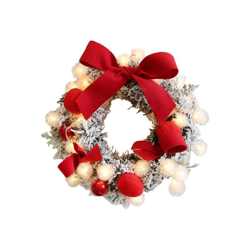 Couronne de Noël fait à la main en rotin Pendentif guirlande de Noël arbre porte décoration Couronne Lumière cordes