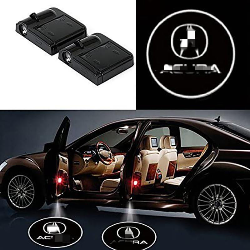 2 Adet Kablosuz Araç Kapı Led Hoşgeldin Lazer Projektör Logo Işık Hayalet Gölge Işık Lambası Logolar Acura Aksesuarı sığdırmak