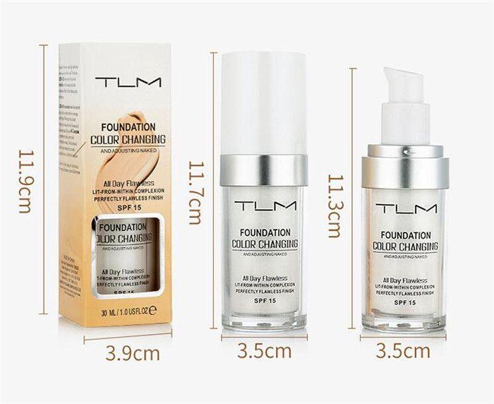 TLM 30 ML Magique Couleur Changeante Fond de Teint Liquide Base De Maquillage Nude Face Cover Correcteur Longue Durée Maquillage Teint Pour La Peau Fondation 3pcs