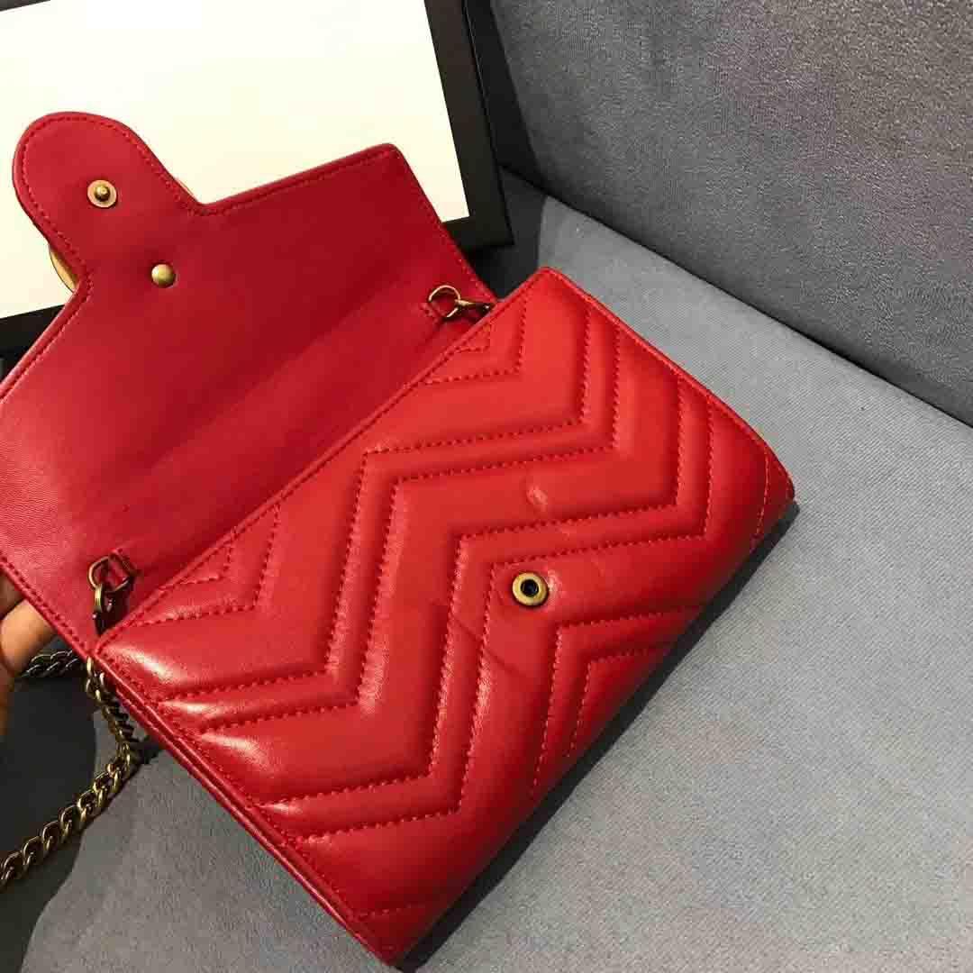 Mode sac à chaîne en métal classique dame épaule haute qualité sac en cuir sac à main en diagonale de fil à broder en cuir