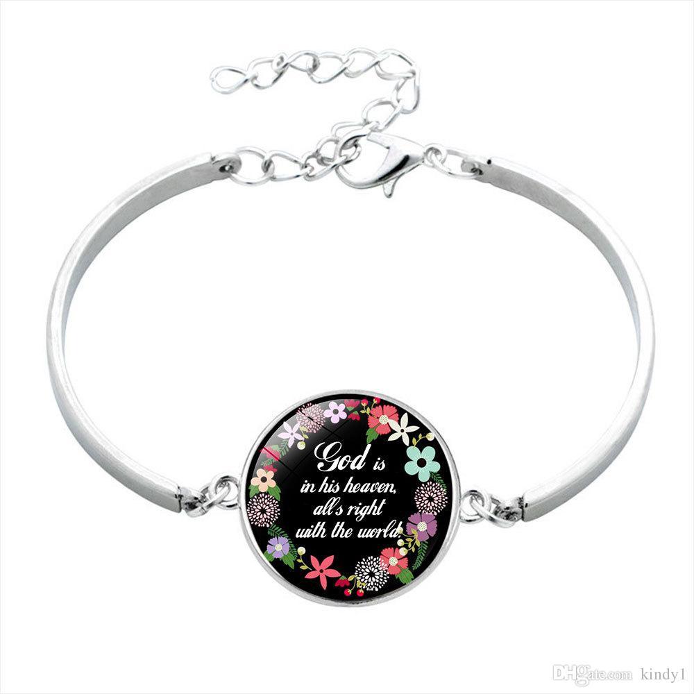 Handmade Christian Bible Verse Faith Inspirational Jewelry Gift Religious Glass Bezel Bangle Bracelet for Women Men