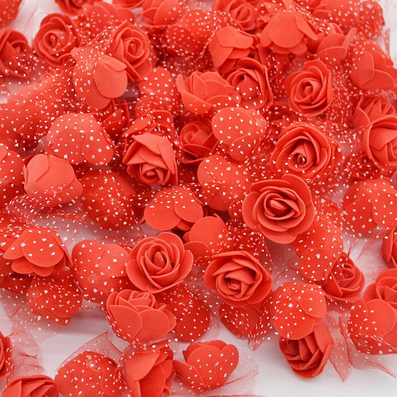 2019 50Pcs/lot 3.5cm Mini PE Foam Rose Heads Artificial Silk Flowers For Home Garden DIY Pompom Wreaths Wedding Decor Supplies