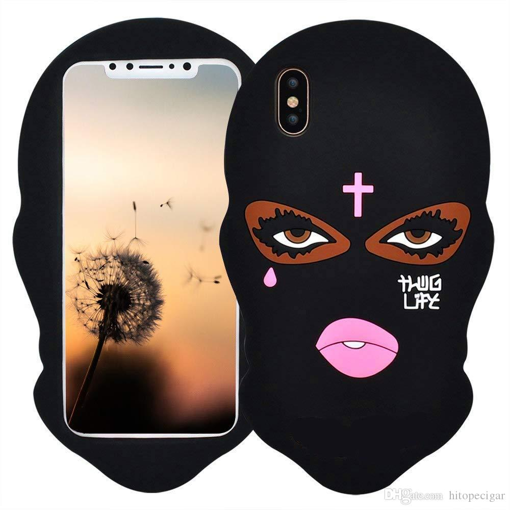 3D Cartoon Animal Design Cute Black Mask Case Soft Silicone Rubber Animated Stylish Cover for iPhone 6 6plus 7 8plus x xr Xs max