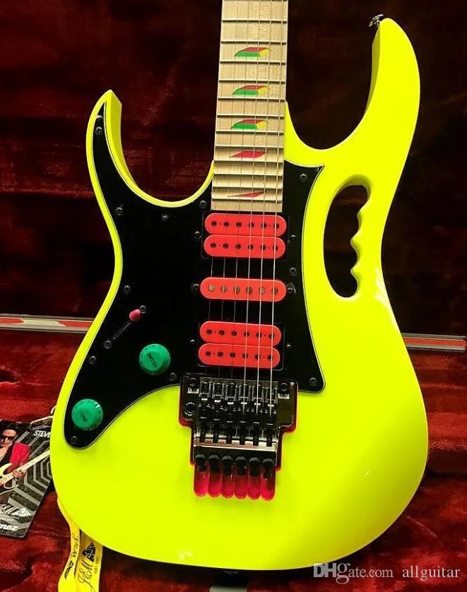 Canhoto Steve Vai JEM 777 guitarra elétrica amarela 30º aniversário Limited Edition Última 4 Frets Scalloped rosa Tremolo Cavity guitarra