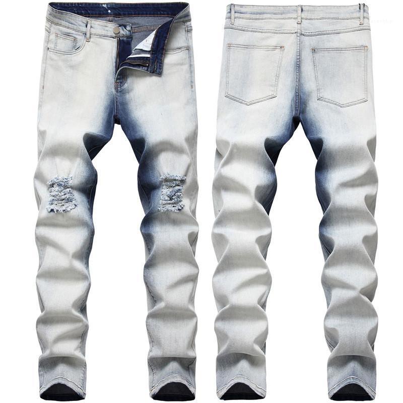 Hip mezclilla color del gradiente de jeans de moda Hip Street Style flaco pantalones del lápiz 2020 agujero del diseñador del Mens