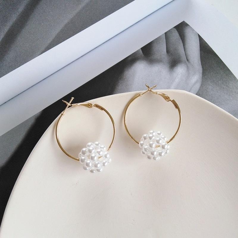 Japonais et coréens simples Tempérament perles imitation boule Boucles d'oreilles mode Graceful femmes fille Accessoires Bijoux