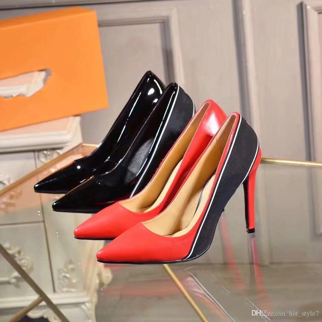 Bahar yeni tek ayakkabı Avrupa mal kadın ayakkabı sivri seksi yüksek topuklu rugan kadın ayakkabıları Kişilik Logo mektup Şerit