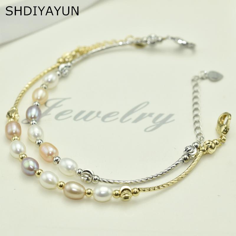 SHDIYAYUN Charm Bracelet Pearl Jewelry Cute Sweet Simple Female Personality Natural Freshwater Pearl Multicolour Bracelet Bead