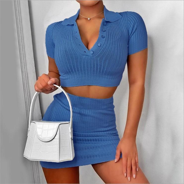 Pamuk Katı Pembe Elbise 2 adet Kadın Kıyafetler V yaka Crop Top Mini Elbise Elastik Hight Skinny Yaz Kısa Kollu Setleri