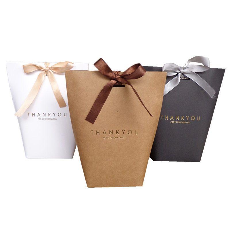 선물 가방 선물 용 Merci 선물 포장 종이 봉투 결혼식 호의 상자 패키지 생일 파티 호의 가방